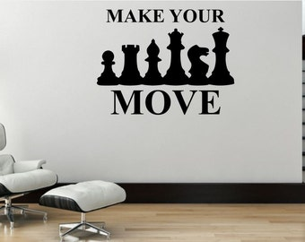 Chess Wall Decal Etsy - How to make vinyl wall decals with silhouette