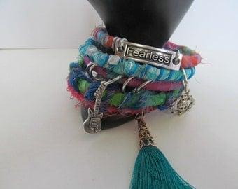 Boho bangles, tassel bracelet, fabric bangles, set of 5 bangles, gypsy fabric bangles, stacking bangles, hippie bracelet, charms