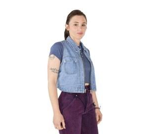 90s Vintage Denim Vest | Perfect Wash Zip Jean Vest | Size Large