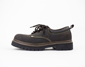Vintage 90s Skechers Chunky Shoes | Lug Sole Combat Boot Oxfords | Womens Size US 7.5 UK 4.5 Euro 37.5