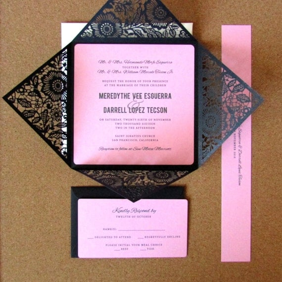 Black And Pink Wedding Invitations Uk Laser Cut Wedding