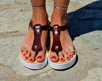 "Women Leather Sandal ""Roadtripper"", white sole sandals, brown sandals, genuine leather, strappy sandals, T strap sandals"