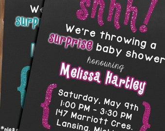 Glitter Baby Shower Invitations ~ Personalized ~ Digital ~ Surprise party ~ Pink ~ Blue ~ Chalkboard
