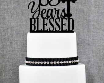 85 Years Blessed Cake Topper, Classy 85th Birthday Cake Topper, 85th Anniversary Cake Topper- (T247-85)