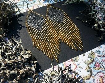 Golden Dawn (Black)...Beaded Fringe Earrings