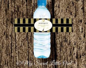 Bachelorette water labels - gold black Bachelorette label - Bachelorette printable - gold Bachelorette water label - Bachelorette party