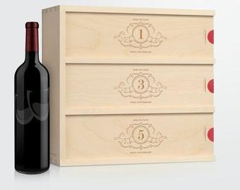 Wedding Wine Box - Charming Trio // Wedding Gift for Couple // Anniversary Wine Box // Engagement Gift // Engraved Wine Box