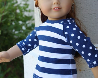18 inch doll clothes made to fit dolls such as amercian girl, AG doll clothes, Navy shorts combined with a cute baseball styled shirt