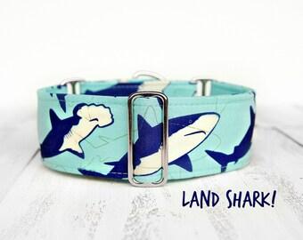 Shark Dog Collar, Martingale or Regular Standard Buckle Collar, 2 Inch Martingale Dog Collar, Blue Nautical Theme Dog Collar, Handmade