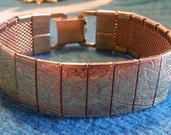 Golden Flower Cuff Bracelet - vintage floral design