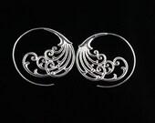 Silver Plated Brass Wind and Waves Earrings, Lightweight Hoop Earrings for Regular Pierced Ears, Ornate Tribal Design SSP1