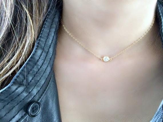 Favori rempli de CZ solitaire RAS de cou minuscule cz diamant cz ND61