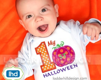 First halloween Embroidery Design -- First Halloween Applique -- My First Halloween Applique Number Machine Embroidery Design HA031