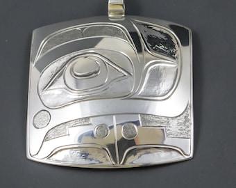Toward a more Harmonious Life Sterling Silver Original  pendant  Northwest coast native Art style  by Terry Jackson