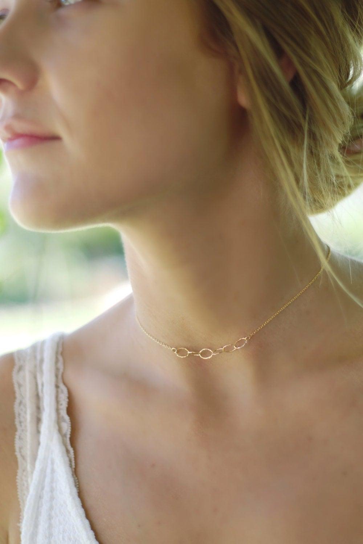 Gold Choker Chain Necklace, Dainty Choker Necklace, Dainty Choker Chain, Thin Chain Necklace, Adjustable Choker Chain Necklace