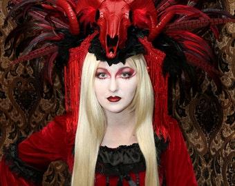 Made to Order/ Feather Headdress/ Queen Headdress/Vampire/ Burning Man  Headdress/ Tribal Headdress/ Goddess Headdress/ Dracula