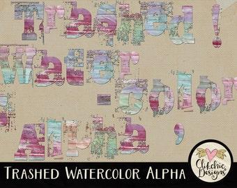 Watercolor Alpha - Painted Digital Scrapbook Alpha Clip Art - Grunge Pastel Trashed Water Color Alpha - Digital Letters Alphabet Clipart