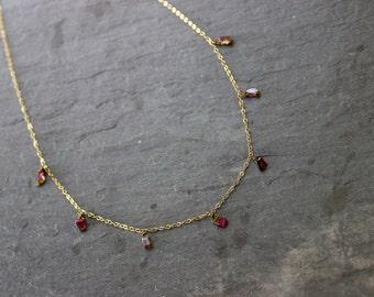 Watermelon Tourmaline Gold Necklace
