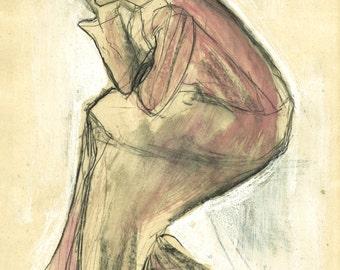 """Original drawing, """"Hommage à Otto Dix I"""", mixed media on paper, 31x19"""""""