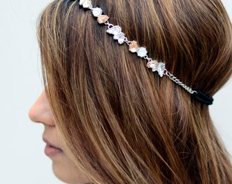 Silver Crystal Gem Elastic Hair Chain Diamond Hair Jewelry Boho Festival Wedding Headpiece head chain  Spring Summer Headband Christmas