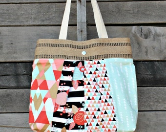 Scrappy Pleated Tote Bag, Everyday Purse,Floral, Stripes, Metallic, Aztec
