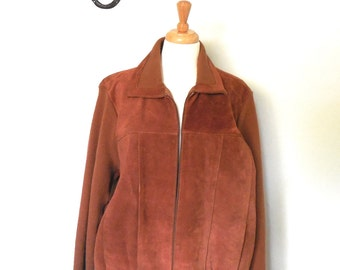 Vintage Brown Suede Sweater Jacket, Mens Coat, Outerwear, Size L/XL