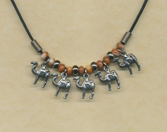 Camel train charm necklace