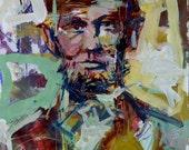 Original Abstract Abraham Lincoln Painting, Abstract Artwork, Original President Portraits By Robert Joyner