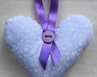 Flowery White and Purple Hanging Heart Decoration