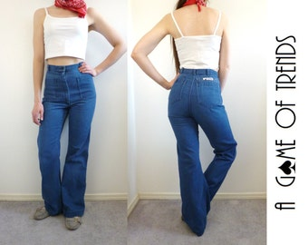 VTG 70s High Waist Flare Jeans Bell Bottoms Size S Patch Pockets
