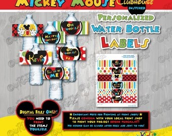 Mickey Mouse Clubhouse birthday water bottle labels,Mickey Mouse birthday water bottle label,Mickey Mouse Party Decorations for Water bottle