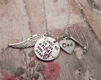 I Used To Be His Angel Custom Necklace with Hammer Charm - Father Memorial Necklace
