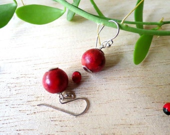 MSS > > 925 Sterling Silver 12 MM Red Coral Ball Dangle Drop Earrings in Sterling Silver Jewelry