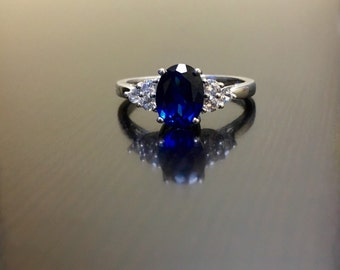 Art Deco Sapphire Engagement Ring - Blue Sapphire Art Deco Wedding Ring - Sterling Silver White Sapphire Ring - Blue Sapphire Ring