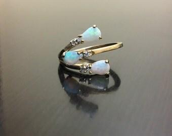 10K Yellow Gold Diamond Opal Engagement Ring - Art Deco 10K Gold Opal Diamond Wedding Ring - Opal Wedding Ring - 10K Gold Art Deco Opal Ring