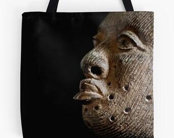 African Art Tote Bag - Featuring Exclusive Ife Bronze Head Design