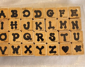 Close to My Heart Wood Mounted Alphabet Rubber Stamp Set, Uppercase Alphabet, Retired USED,  RARE, Alphabet Stamp Set, Letter Stamps