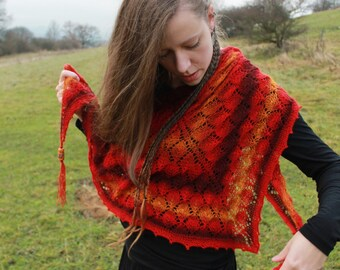 Light the fire - handknit lace shawl with handmade glass beads FREE SHIPPING