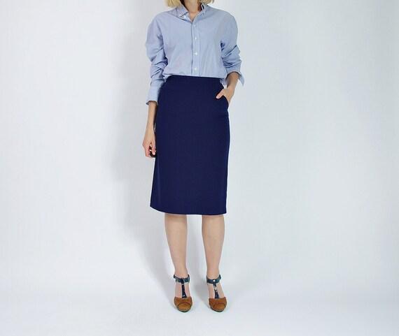 SALE - 70s Dots Pencil Pockets Wool Nylon Street Style Midi Skirt / Size M