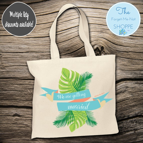 Tropical Beach Theme Wedding Tote Bag ~ Bride to Be tote bag, Nautical, bachelorette ,Mother,  party tote, Wedding Favor, Gift Tote