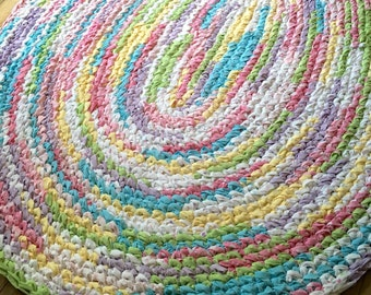 5'x4' Rainbow Area Rug *MADE AFTER PURCHASE* Hand Crocheted, Oval Rag Rug, Large Colorful Kids Area Rug, Braided Rug, Large Nursery Rug