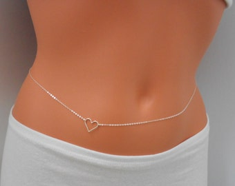 Sterling Silver Heart Belly Chain - Body Chain, Body Jewelry, Sterling Silver Belly Chain, Silver Body Chain, Girl Friend Gift