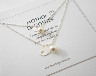 Mother Daughter Jewelry - Mother Daughter Necklace, Mother of the Bride Gift, Push Present, Mothers Day, Mother Daughter Necklace