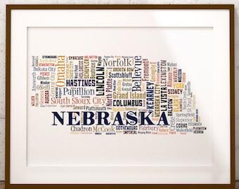 Nebraska Map Color Typography Map Art,Nebraska Cities & Towns Map Poster,Nebraska Poster Print,Text Art Print,Word Map