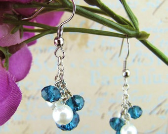 Crystal and Pearl Cluster Earrings