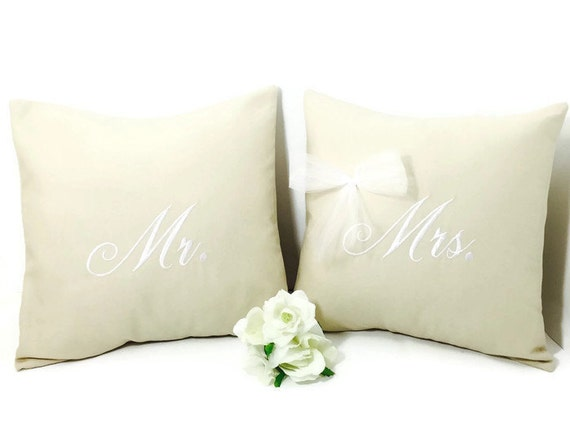 Mr And Mrs Gifts Wedding: Mr And Mrs Pillow Set Wedding Gift Wedding Pillowmr By