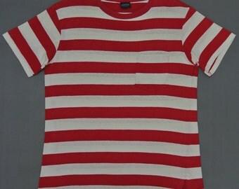 Lands End Shirt Women Medium Vintage Land's End Men Small Striped T Shirt Pocket T