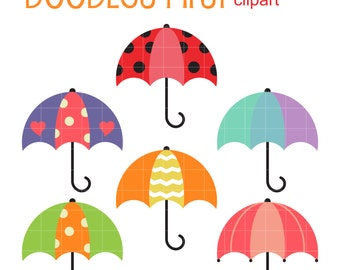 Cute Umbrellas Clip Art for Scrapbooking Card Making Cupcake Toppers Paper Crafts