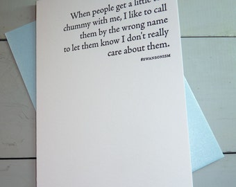 Ron Swanson Parks and Recreation People Get Chummy Letterpress Greeting Card