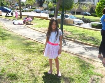 White and pink polka dot skirt, girl cotton and lace  skirt, elastic belt flared skirt  for girl size 2